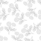 Marigold Outline Seamless on White Background. Vector Illustration.  royalty free illustration