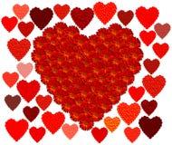 Marigold Red Heart & Hearts. Marigold Red Heart & Hearts. Red, burgundy, orange, yellow flowers arranged in full heart shape. Smaller hearts around. White Royalty Free Stock Photo