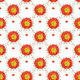 Marigold. Seamless pattern with flowers. Hand-drawn background. Vector illustration. Royalty Free Stock Photos