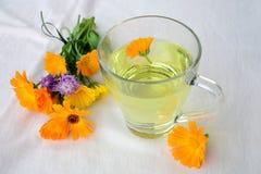 Marigold tea and flowers. Marigold - Calendula tea and a small bouquet of marigold  flowers Royalty Free Stock Photography