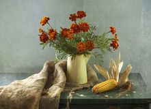 Marigolds and corn. Bouquet of marigolds in a jug and corn Royalty Free Stock Photo