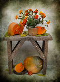 Marigolds and pumpkins Royalty Free Stock Photos