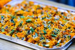 Marigolds in a tray Stock Images