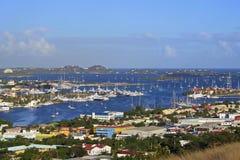 Marigot海湾,圣马尔滕全景  免版税图库摄影