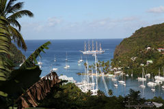 Marigot Bay, St. Lucia. The stunning scenery of Marigot Bay in the Caribbean island of St. Lucia makes it a favourite haunt of the Yachties Royalty Free Stock Images