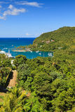 Marigot Bay, St Lucia. The view across Marigot Bay in Saint Lucia.  Marigot Bay is located on the west coast of the Caribbean island of St Lucia Royalty Free Stock Photography