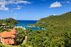 Marigot Bay. The view across Marigot Bay in St Lucia.  Marigot Bay is located on the west coast of the Caribbean island of St Lucia Royalty Free Stock Images