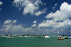 Marigot Harbor, St Martin. Sailboats and blue skies await you in Marigot, St. Martin Royalty Free Stock Photo
