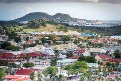 Marigot. Overlooking the rooftops in Marigot, St Martin Stock Image
