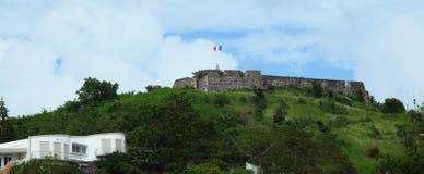 Marigot, Sint Maarten, Caribbean. Fort St Louis on the hill of Marigot , the French part of Island ,Saint  martin/ Sint maarten Stock Photos