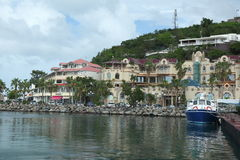Marigot, Sint Maarten, Caribbean. Water front on townl of Marigot , the capital of French part of Island ,Saint  martin/ Sint maarten. The buildings are the West Royalty Free Stock Photo