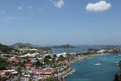 Marigot. A view from Fort Saint Louis over the city of Marigot on the island of St. Martin in the Caribbean Royalty Free Stock Photos