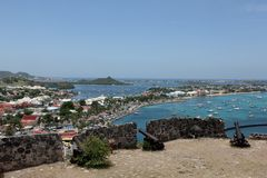 Marigot. A view from Fort Saint Louis over the city of Marigot on the island of St. Martin in the Caribbean Stock Photography