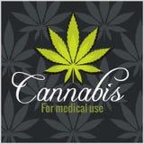 Marihuana - Cannabis Voor medisch gebruik Beeldverhaal polair met harten Royalty-vrije Stock Afbeelding