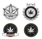 Marihuana en onkruidsymboolkentekens Stock Foto