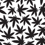 Marihuana ganja weed black and white seamless vector pattern Stock Photography
