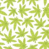Marihuana ganja weed hand drawn seamless vector pattern Royalty Free Stock Image