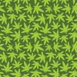 Marihuana ganja weed seamless vector pattern green Stock Photos