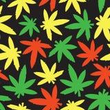 Marihuana ganja weed seamless vector pattern rasta colors Royalty Free Stock Photography