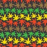Marihuana ganja weed seamless vector pattern rasta colors Stock Photos