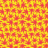 Marihuana ganja weed seamless vector pattern red and yellow Stock Image
