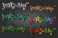 Marihuana graffiti ostry miastowy uliczny tekst Fotografia Royalty Free
