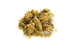 Marihuana i pigułki odizolowywający na białym tle narkotyzujemy Zdjęcie Royalty Free