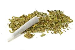 Marihuana joint with marihuana. On a white background Stock Photos