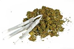 Marihuana joints with marihuana. Three marihuana joint with marihuana Stock Image