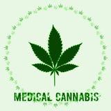 Marihuana liść i słowo Medyczna marihuana royalty ilustracja