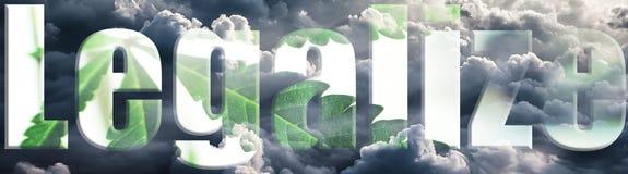 Marihuana Logo With Leagalize With Leaf & Hoge Wolken - kwaliteit Stock Afbeeldingen