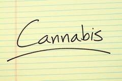 Marihuana Na Żółtym Legalnym ochraniaczu Zdjęcia Royalty Free