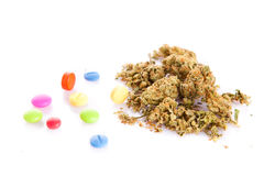 Marihuana and pills isolated on white background Stock Images
