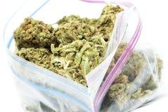 Marihuana, torba świrzepa Zdjęcia Stock