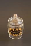 Marihuanaglasbehälterglas mit Kappe Stockfotos