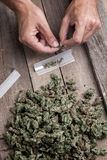 Marihuanaknospen und hande meking Gelenk Lizenzfreies Stockfoto