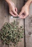 Marihuanaknospen und hande meking Gelenk Stockbild