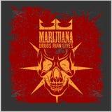 Marihuanaschedel op grungeachtergrond Vector voor drukken en t-shirts Stock Afbeeldingen