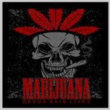 Marihuanaschedel op grungeachtergrond Vector voor drukken en t-shirts Stock Foto's
