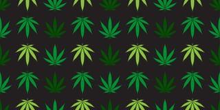 Marihuany świrzepy marihuany liścia tła powtórki tapety bezszwowy deseniowy wektorowy szalik odizolowywająca dachówkowa zieleń royalty ilustracja