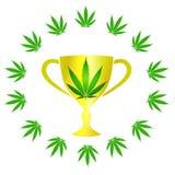 Marihuany filiżanka z liśćmi Obraz Royalty Free