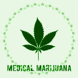 Marihuany leaf w abstrakta stylu i słowo Medycznej marihuanie royalty ilustracja