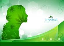 Marihuany marihuana na zielonych tło i roślina ilustracja wektor