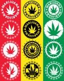Marihuany marihuany liścia symbolu grungy znaczki Zdjęcia Stock