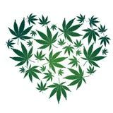 marihuany serca liść royalty ilustracja