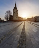 Marii Panny square with bell tower Cathedral in Kielce. Royalty Free Stock Photos