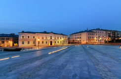 Marii Panny square in Kielce, Poland, in the evening. Royalty Free Stock Photos