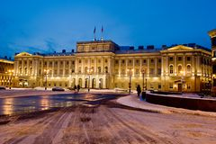 The Mariinsky Palace is part of the ensemble of St. Isaac`s Square royalty free stock photos