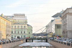 The Mariinsky theatre and the Kryukov Canal. Royalty Free Stock Photography