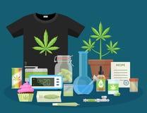 Marijuana And Smoking Equipment Flat Icons, Illustration Of Medical Cannabis Ganja Growing And Accessories Vector Illustration Stock Image